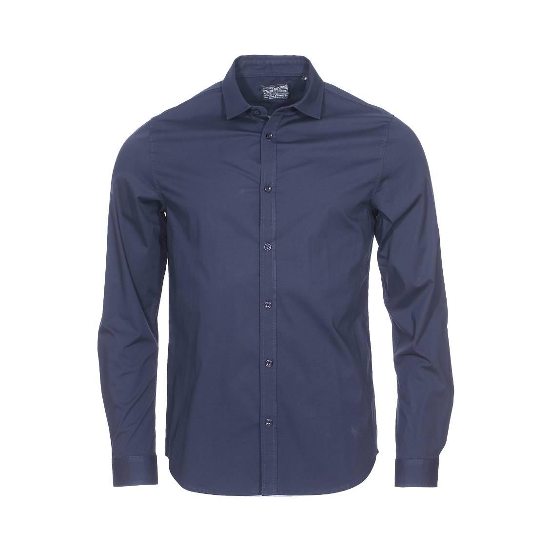Chemise ajustée  en coton stretch bleu marine