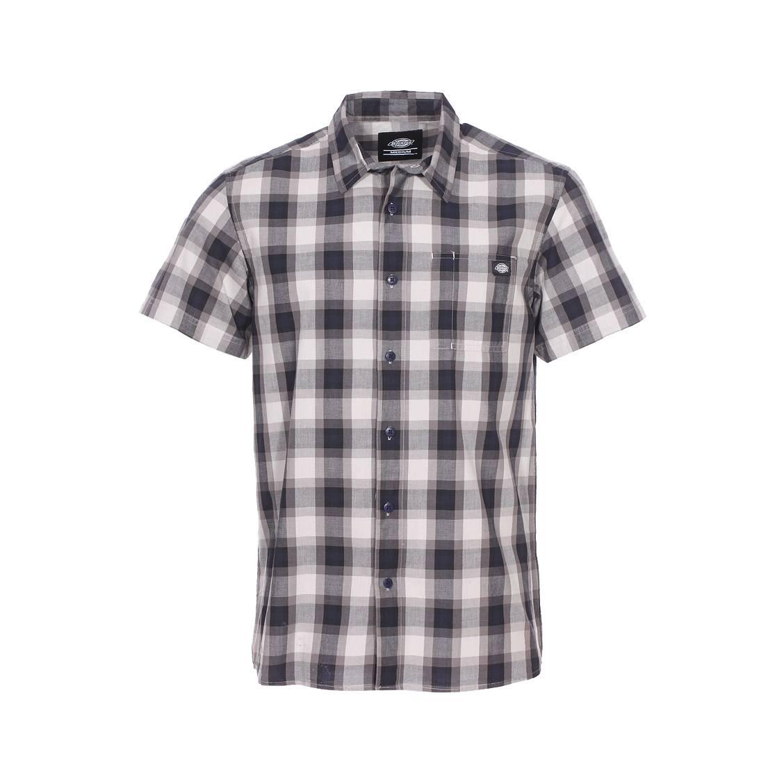 Chemise manches courtes  bryson en coton à carreaux gris et bleu marine