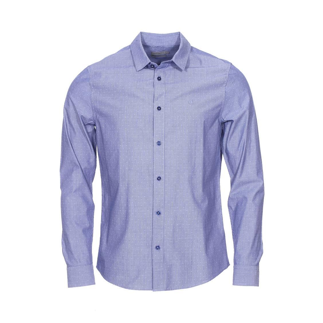 Chemise cintrée calvin klein wilbens à fines rayures blanches et bleu indigo