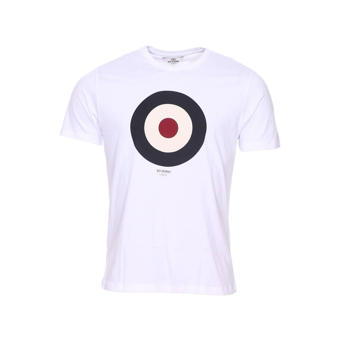 Tee-shirt col rond  the target en coton blanc