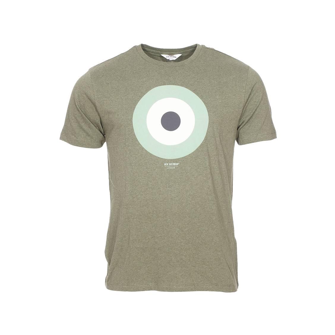 Tee-shirt col rond  the target en coton vert chiné