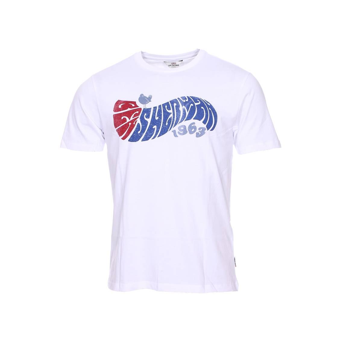 Tee-shirt col rond  experience en coton blanc floqué