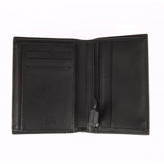 Portefeuille Lacoste en cuir lisse noir à 3 volets rTyjv9lXUr