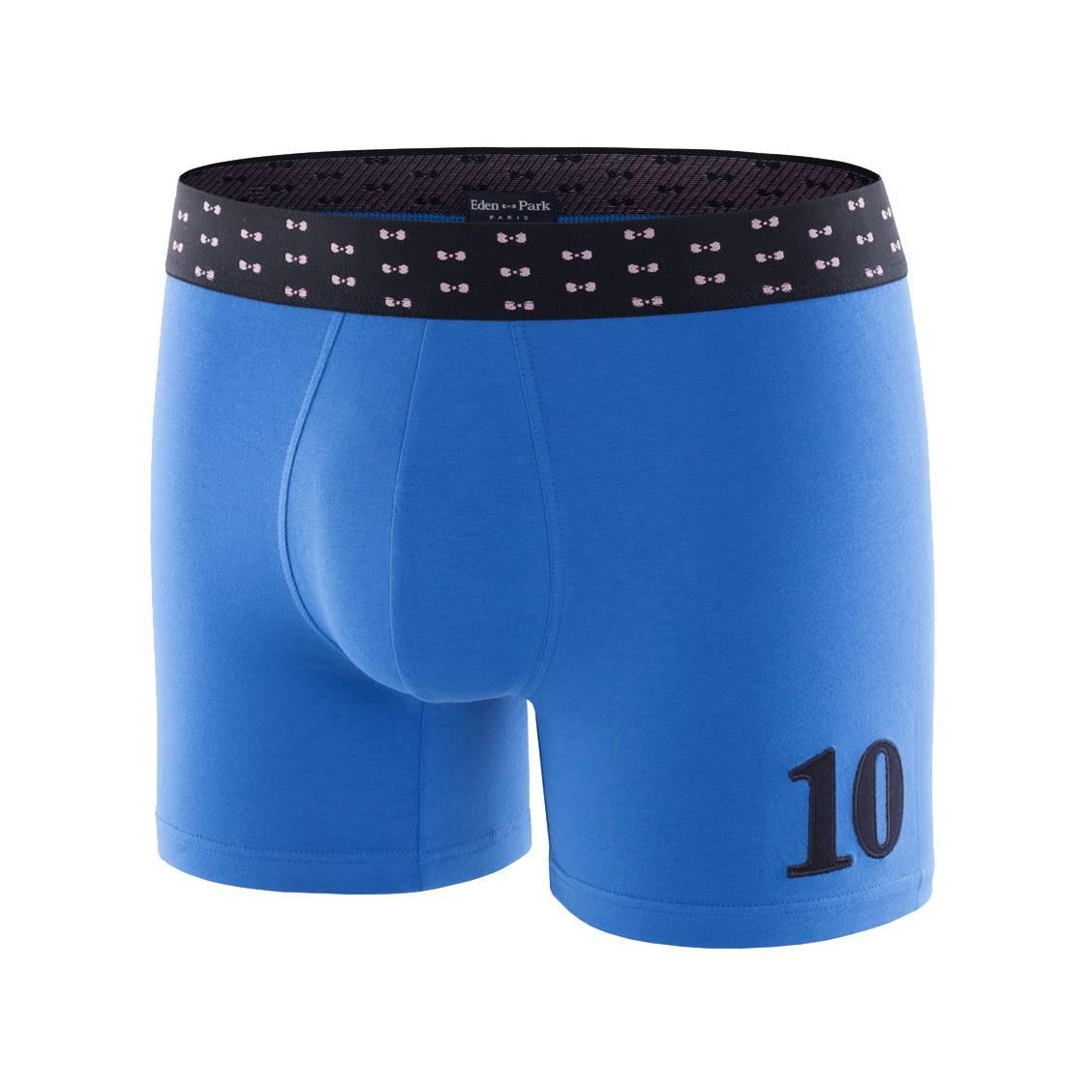 Boxer  en coton stretch bleu roi à ceinture bleu marine à n?uds