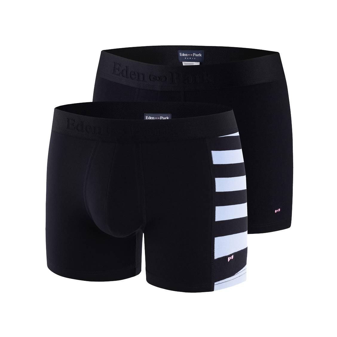 Lot de 2 boxers  en coton stretch bleu marine et bleu marine à rayures bleu ciel sur le côté
