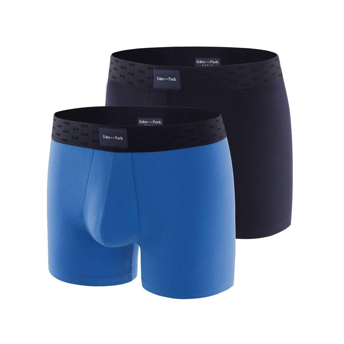 Lot de 2 boxers  en coton stretch bleu roi et bleu marine