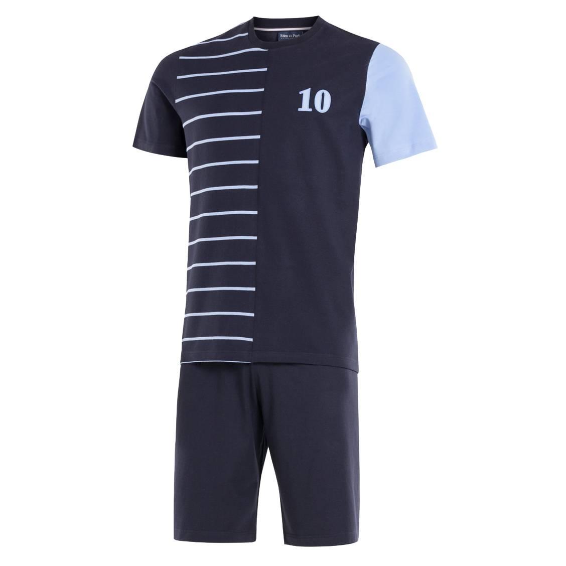 Pyjama court  en coton : tee-shirt col rond bleu marine à rayures roses et short bleu marine