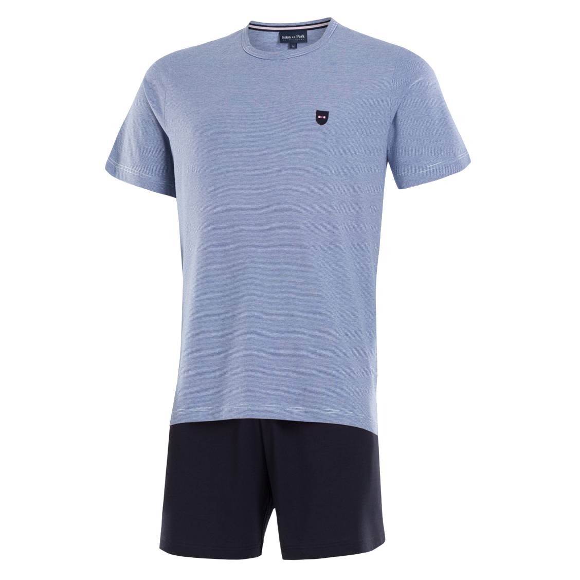 Pyjama court  en coton : tee-shirt col rond bleu marine à rayures blanches et short bleu marine