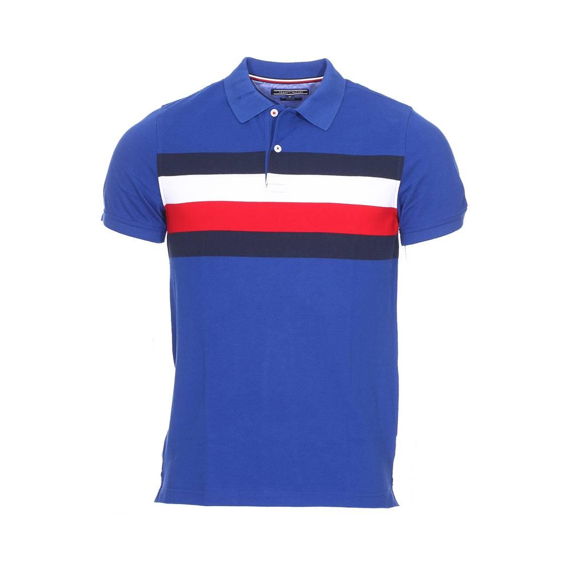 Polo Tommy Hilfiger Chest Stripe En Maille Piquee Bleu Roi Rue Des
