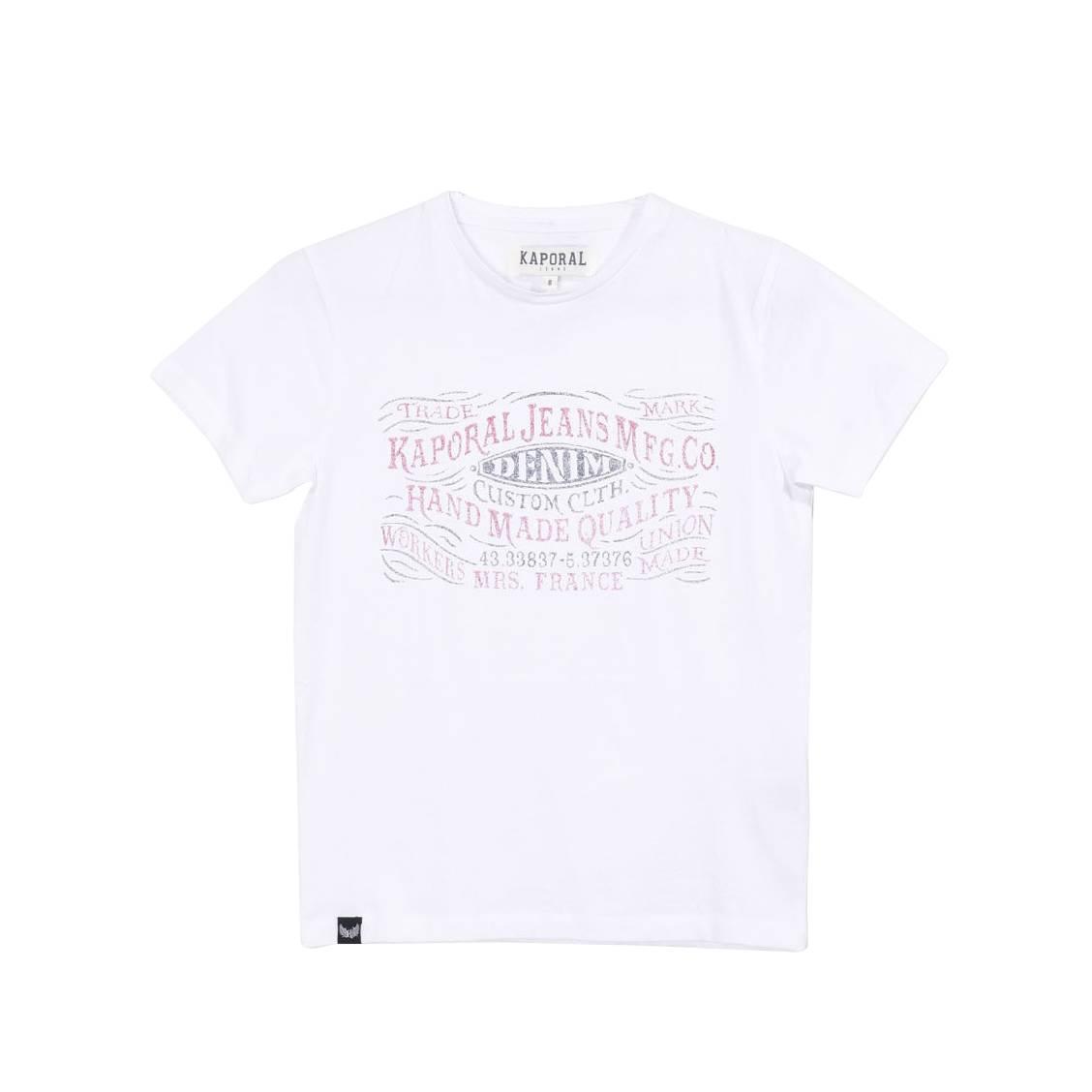 Tee-shirt col rond  raker en coton blanc