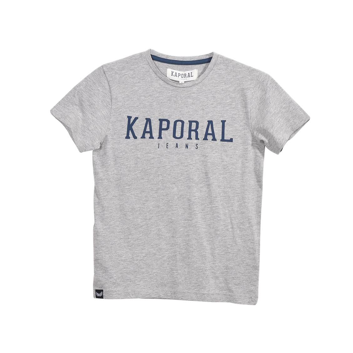 Tee-shirt col rond  rona en coton mélangé gris chiné floqué en bleu marine