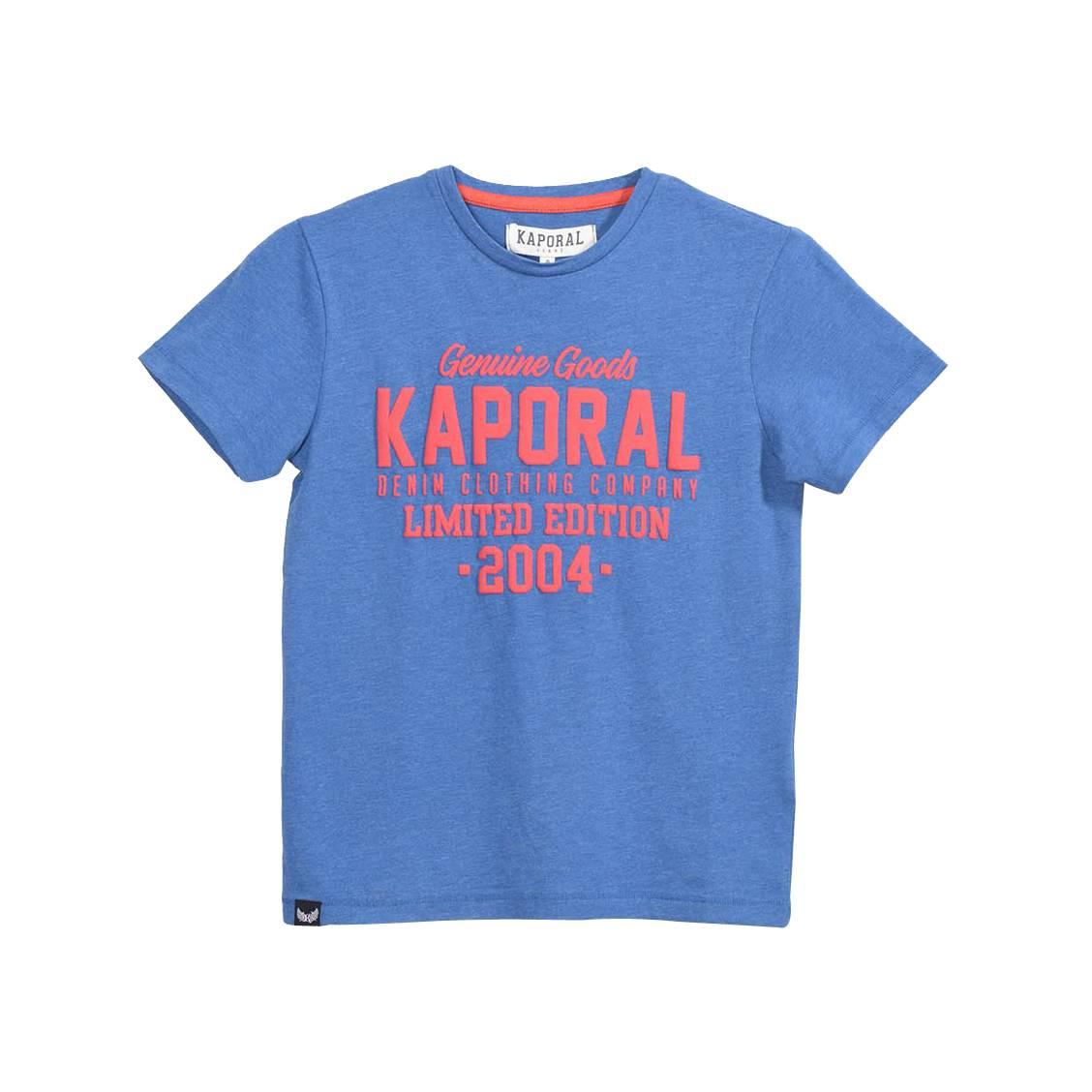 Tee-shirt col rond  ruff en coton mélangé bleu cobalt chiné à imprimé texturé orange