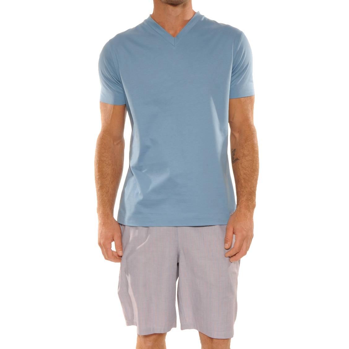 Shirt Bleu Turquoise Pyjama Pilus Col 100CotonTee V Court Hans I6fv7mYgby