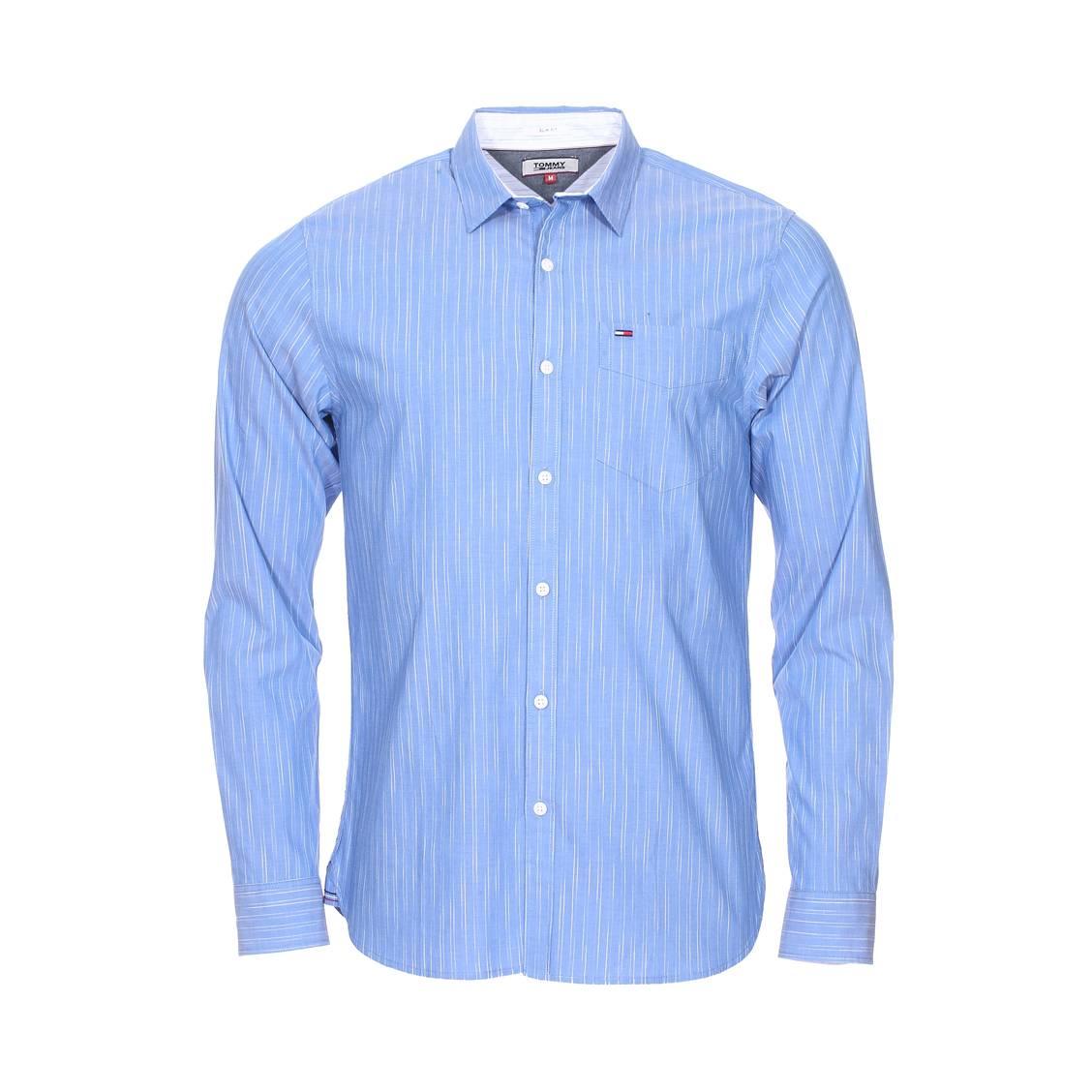 9b8d24111830e Chemise slim Tommy Jeans Spacedye Stripe en coton stretch bleu à fines  rayures blanches ...