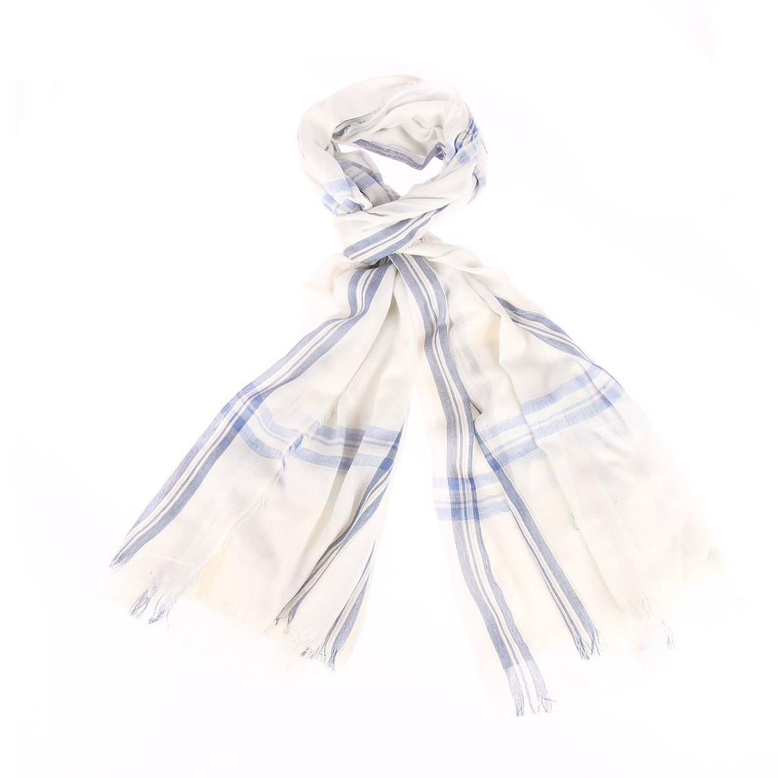 Chèche  blanc à carreaux bleus et beiges
