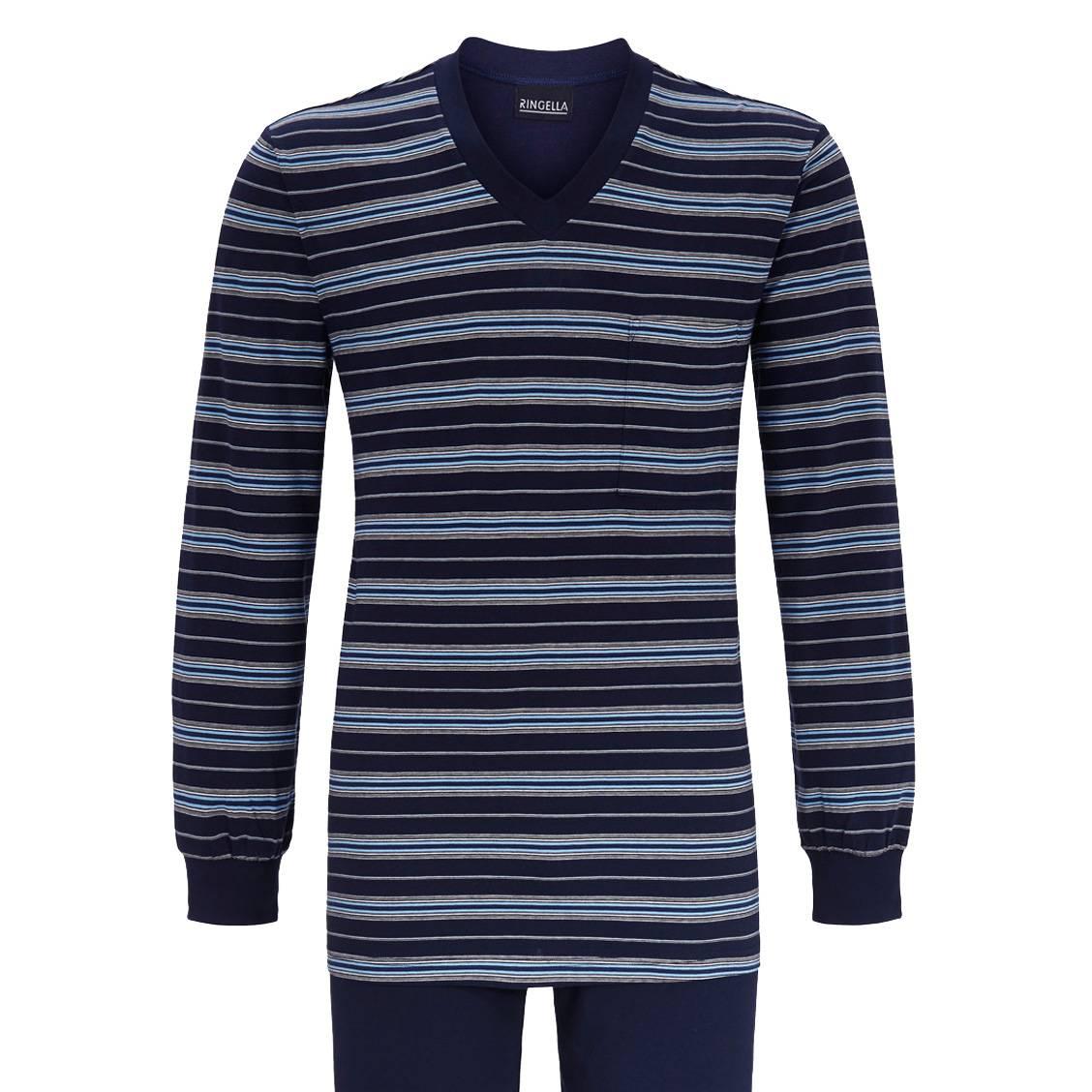 cbf5253d56b0 Pyjama long Ringella en xxx   tee-shirt col V manches longues bleu marine à  ...