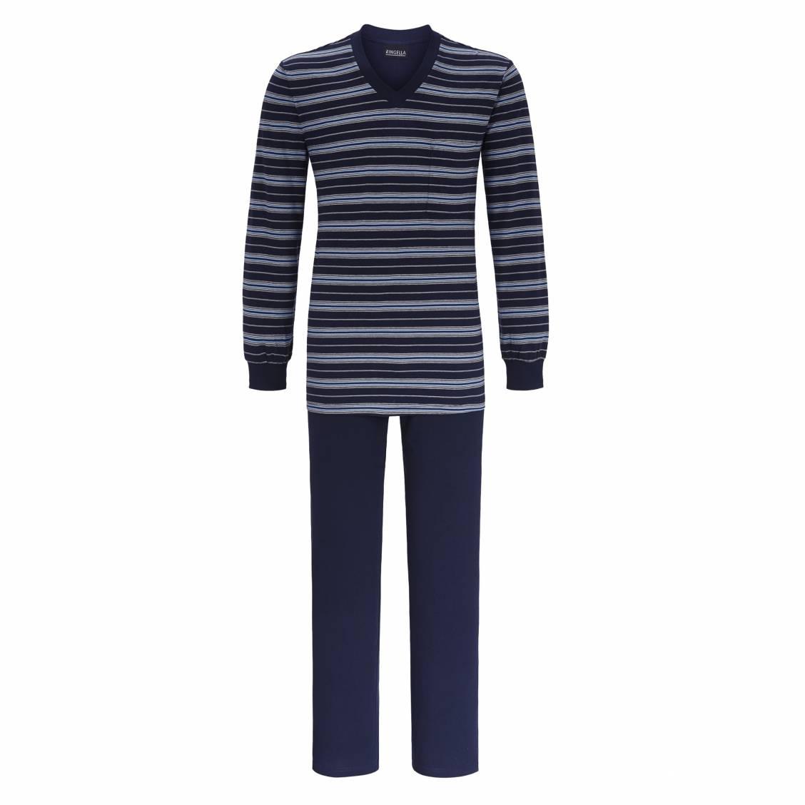 864b60b46 75183-ringella-h18-pyjama-8541218-286-night-pyjama-long-ringella-en-xxx--tee-shirt-col-v-manches-longues-bleu-marine-a-rayures-bleu-ciel-grises-et-blanches-  ...