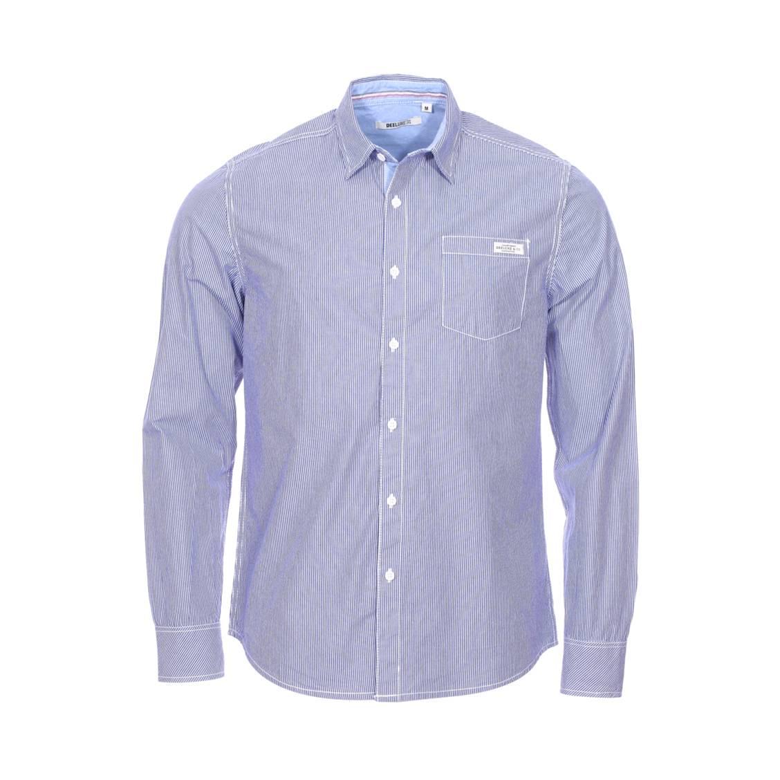 Chemise ajustée  campo en coton bleu indigo à rayures blanches