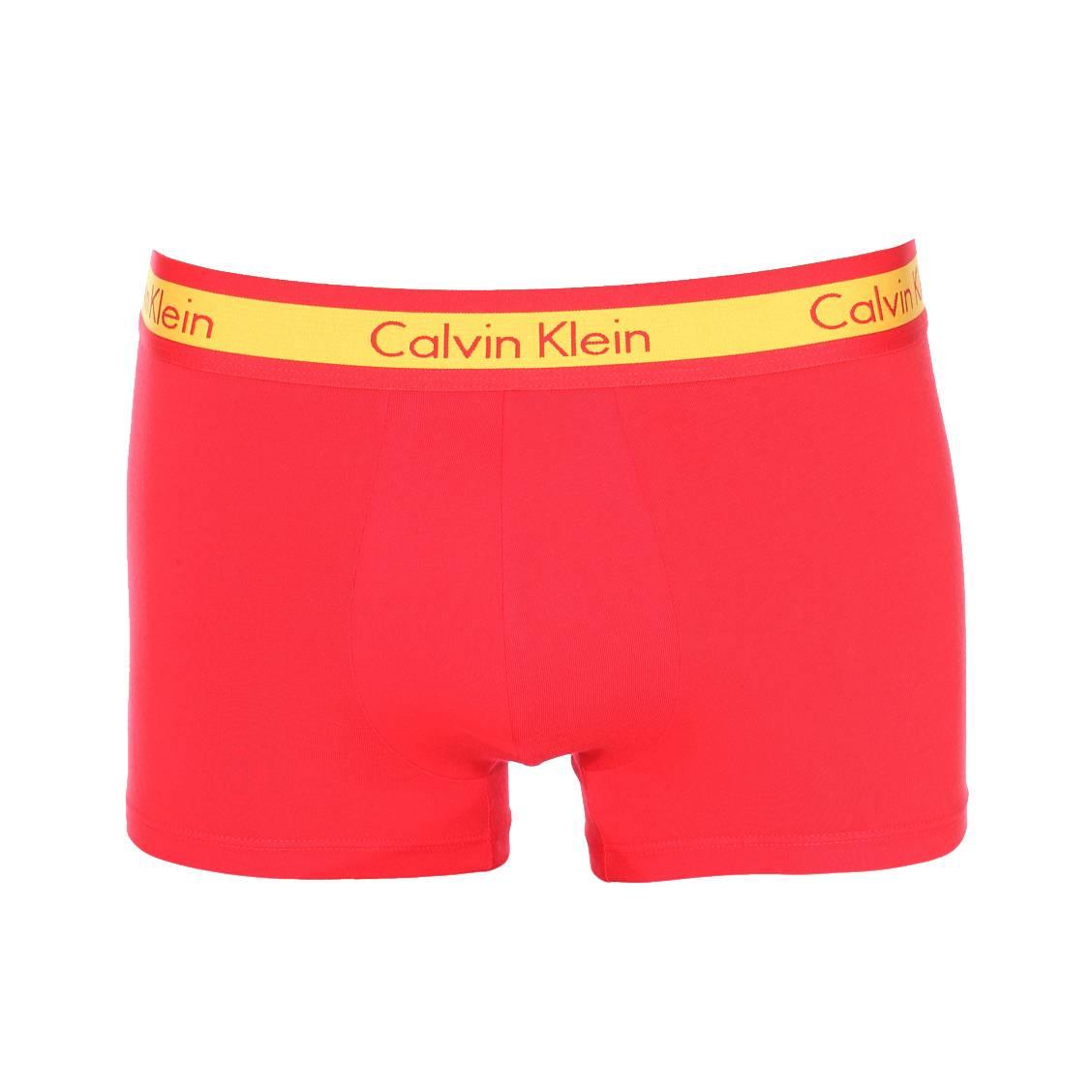 Boxer calvin klein en coton stretch rouge et jaune, édition limitée