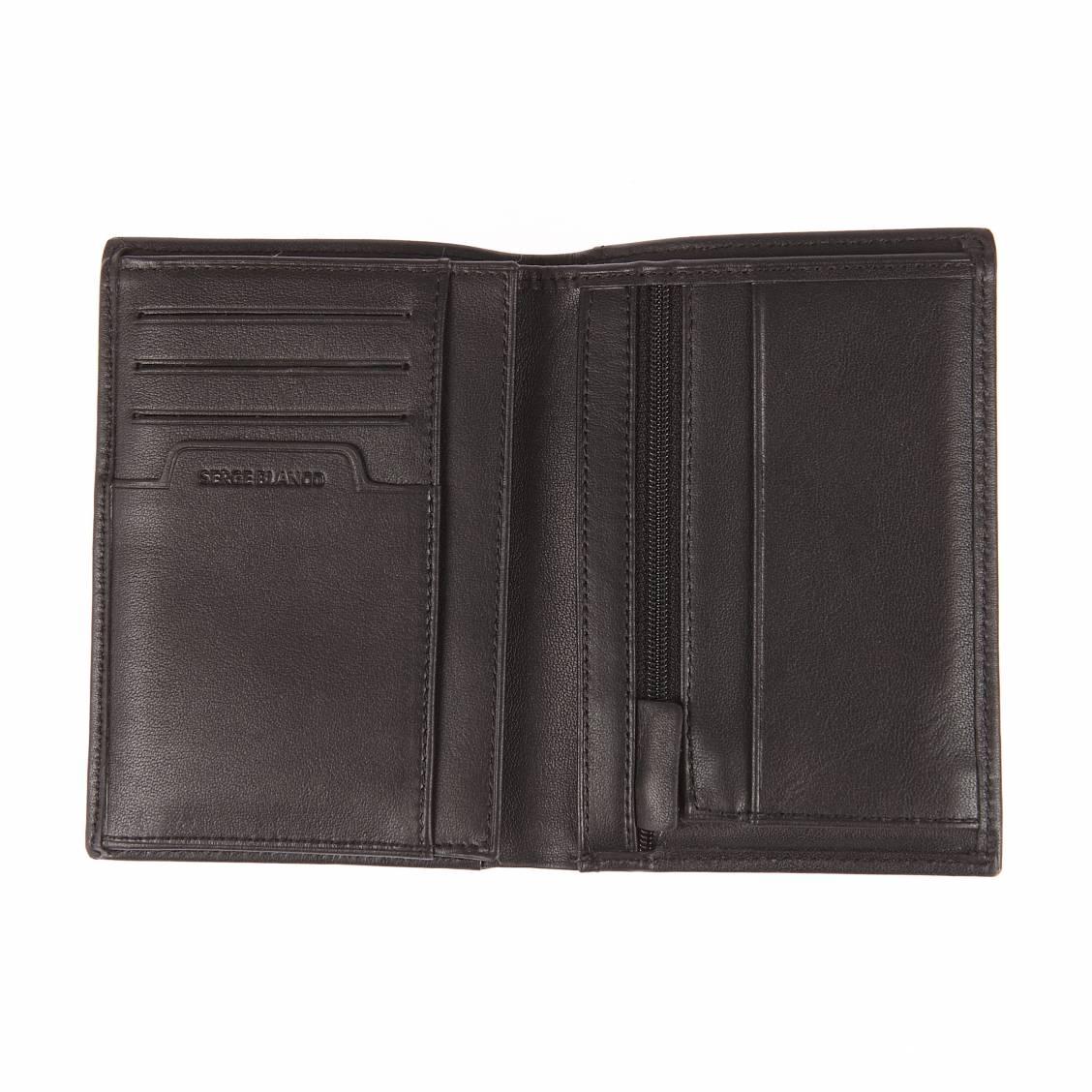 Portefeuille européen 4 volets Serge Blanco New Club en cuir de bovin noir lisse à porte-monnaie zippé Gbwlyxq