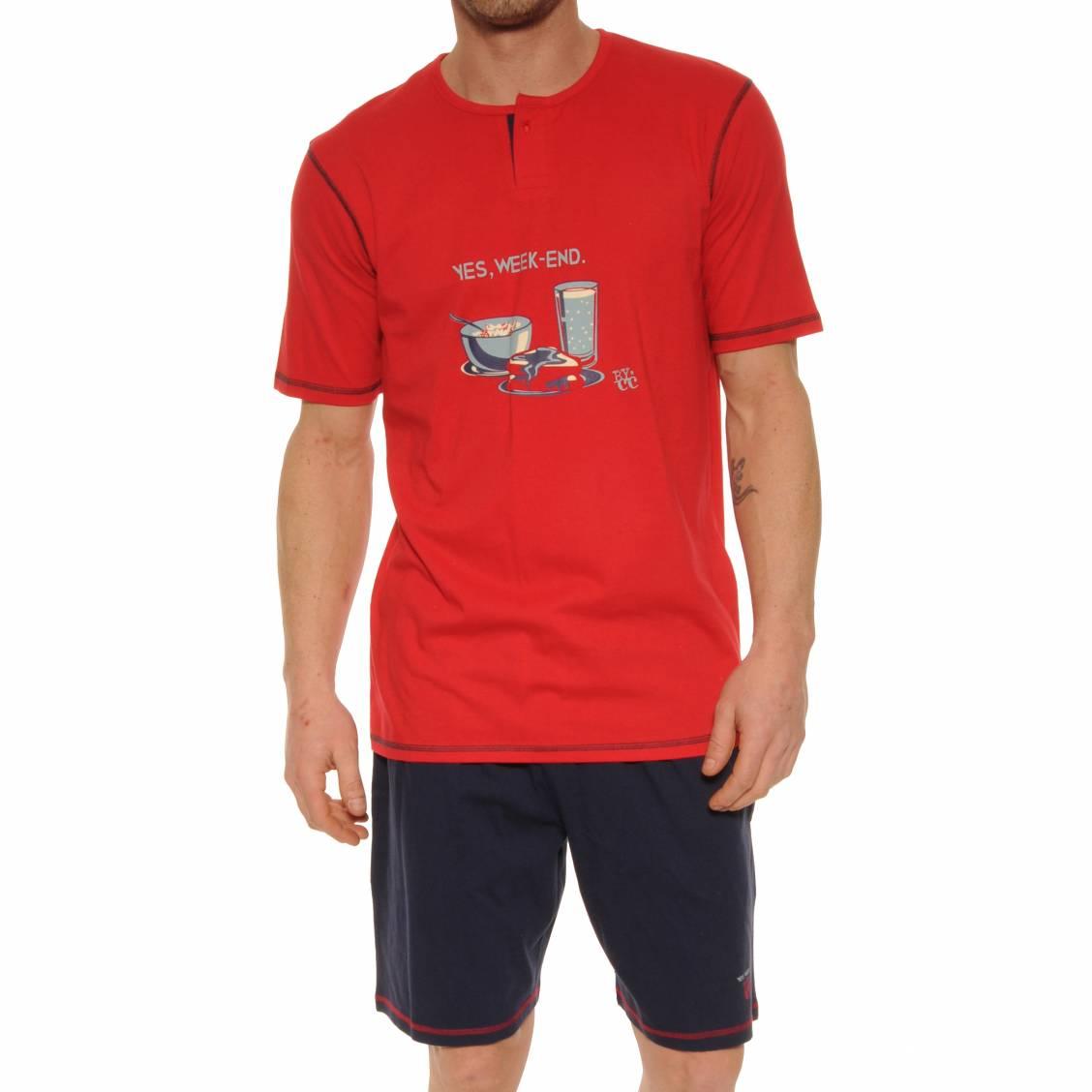 Pyjama court Christian Cane Megadimanche en coton : tee-shirt col tunisien rouge floqué  Yes, Week-end , short bleu marine