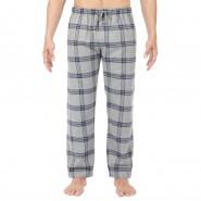 Pantalon de pyjama HOM Columbus en flanelle gris chiné à carreaux bleu marine