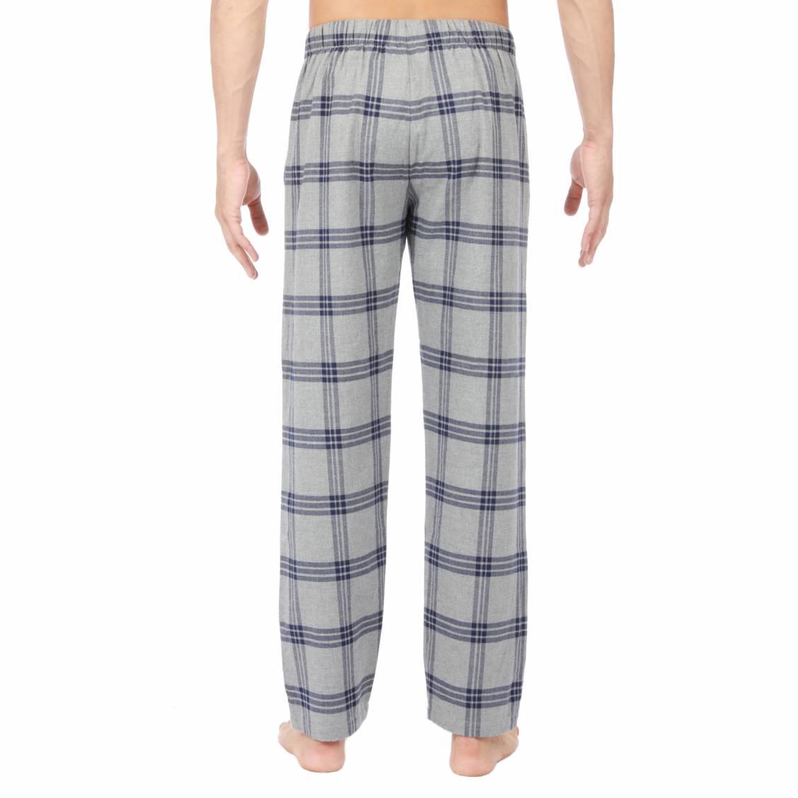 8984f8be70 ... Pantalon de pyjama HOM Columbus en flanelle gris chiné à carreaux bleu  marine