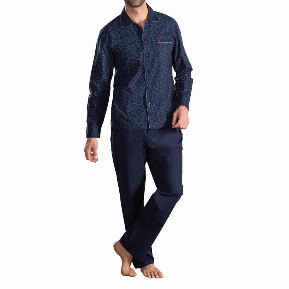 Pyjama long  roman en popeline de coton : chemise bleu marine à motif floral bleu ciel et pantalon bleu marine