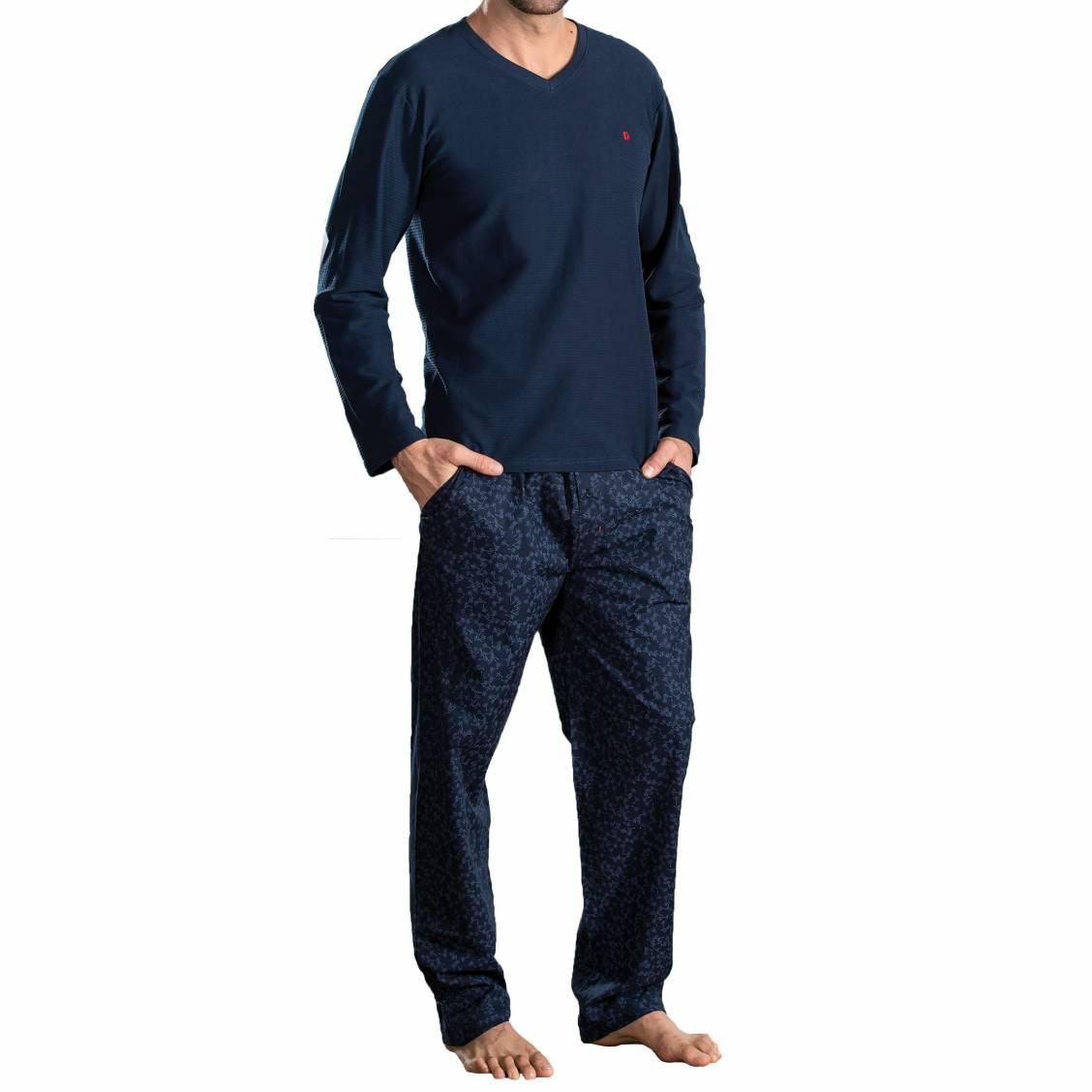 Pyjama long Dodo Roman en coton : tee-shirt manches longues col V en jersey bleu marine, pantalon en popeline bleu marine à fleurs bleu ciel