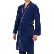 Robe de chambre Eminence Tailoring en coton bleu marine à chevrons bleu indigo