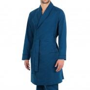 Robe de chambre Eminence Smoking en popeline de coton bleu marine à imprimé graphique bleu pétrole