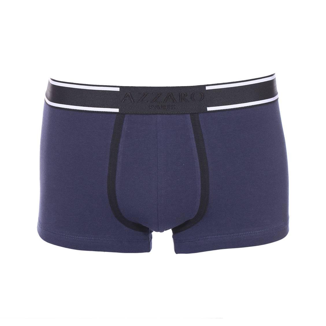 Boxer Azzaro en coton stretch bleu marine à ceinture noire