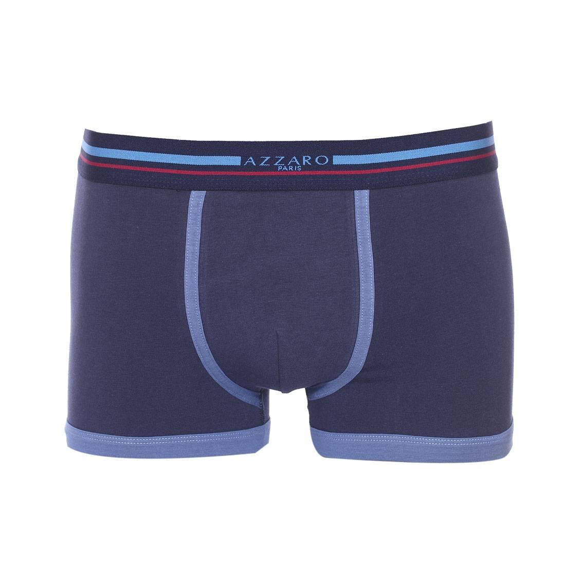 Boxer Azzaro en coton stretch bleu marine à liserés bleu indigo