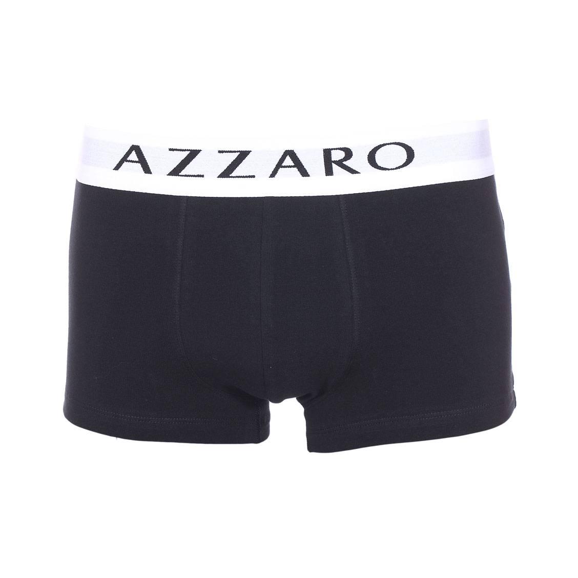 Boxer Azzaro en coton stretch noir à ceinture blanche