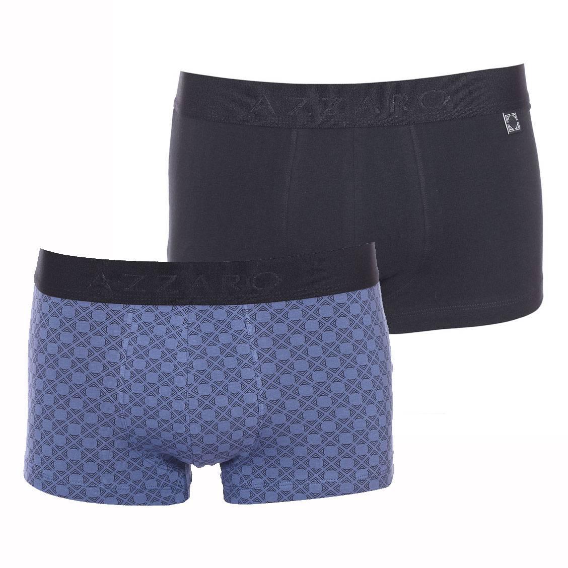 Lot de 2 boxers Azzaro en coton stretch noir et bleu indigo à motifs noirs