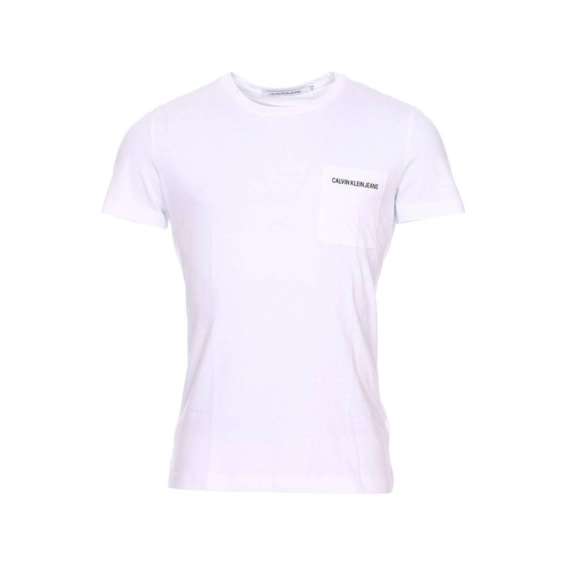 Tee-shirt col rond  pocket institutional en coton blanc à poche poitrine