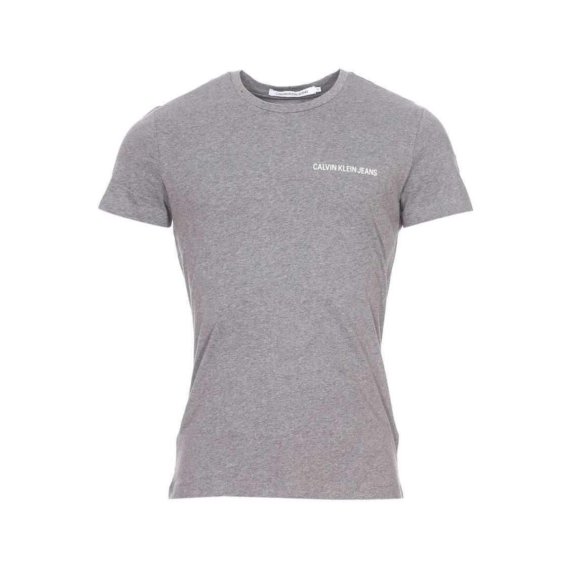 Tee-shirt col rond  chest institutional en coton gris chiné floqué en blanc