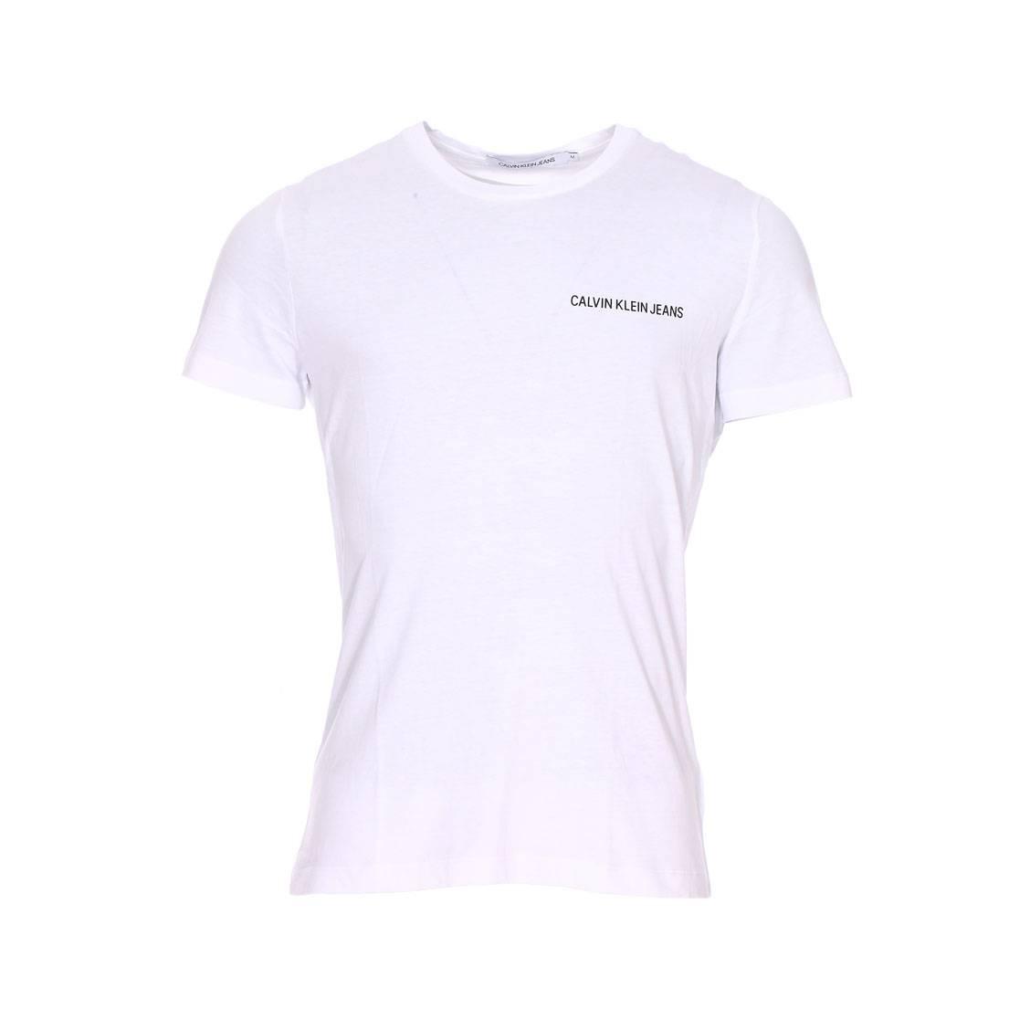 Tee-shirt col rond  chest institutional en coton blanc floqué en noir