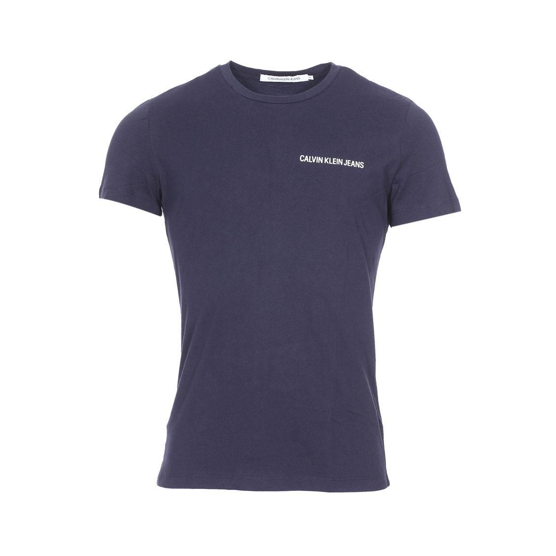 Tee-shirt col rond  small instit logo ch en coton bleu marine floqué en blanc