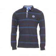 Polo manches longues TBS Kadpol en coton noir à rayures bleues