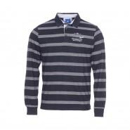 Polo manches longues TBS Tufpolo en coton bleu marine à rayures blanches