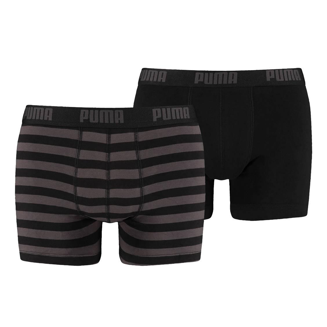 Lot de 2 boxers Puma Stripe 1515 en coton stretch noir et noir et gris à ... e18174207fa