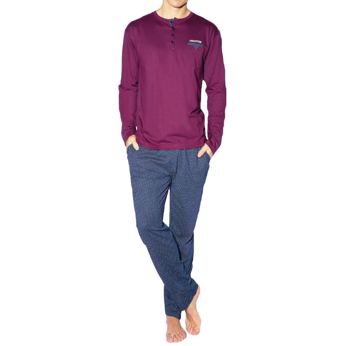 Pyjama long Hechter Studio Flow en coton et modal : tee-shirt manches longues col tunisien prune et pantalon bleu marine à motif fantaisie blanc et prune