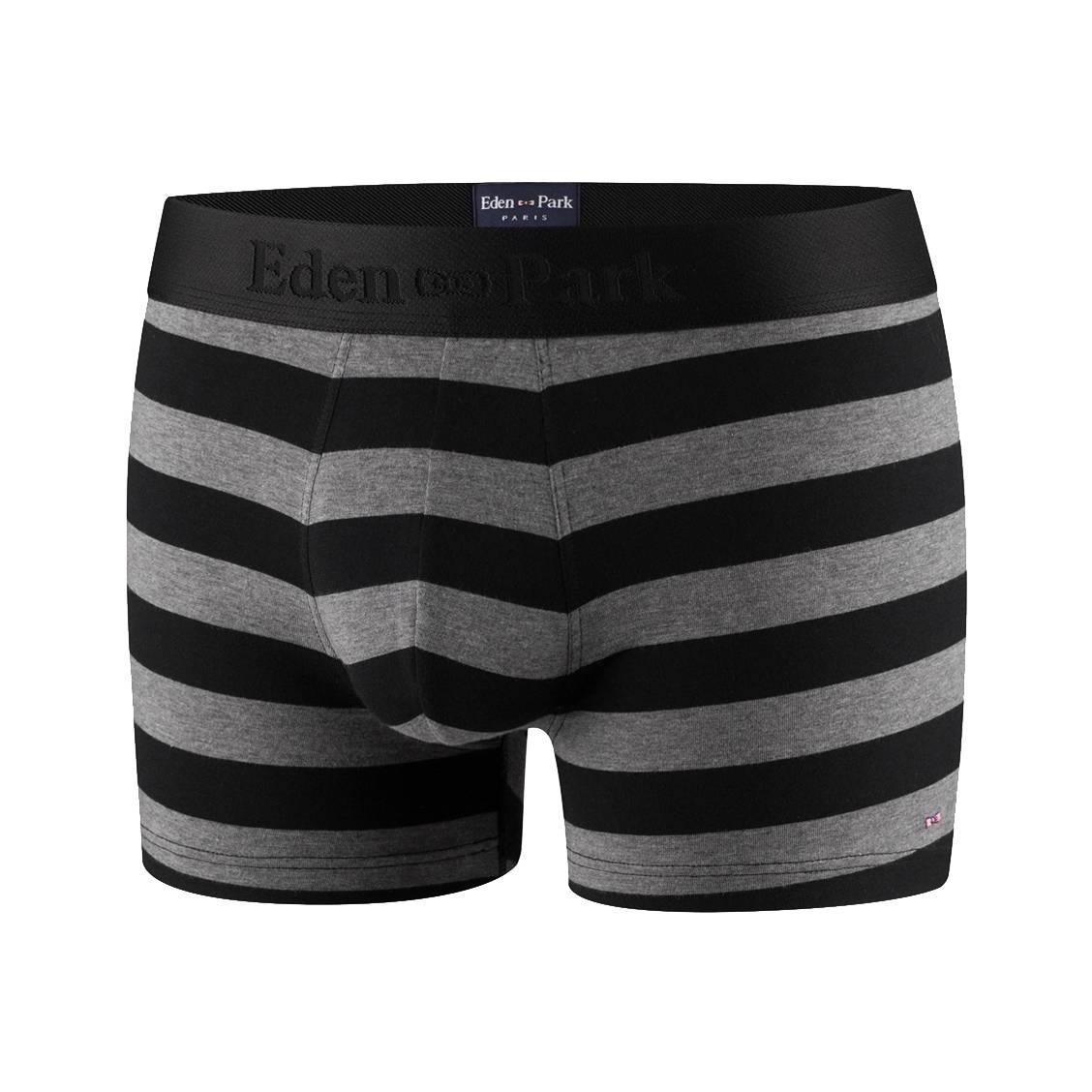 Boxer eden park en coton stretch à rayures noires et gris chiné