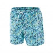Short de bain Impetus bleu cyan à imprimé exotique