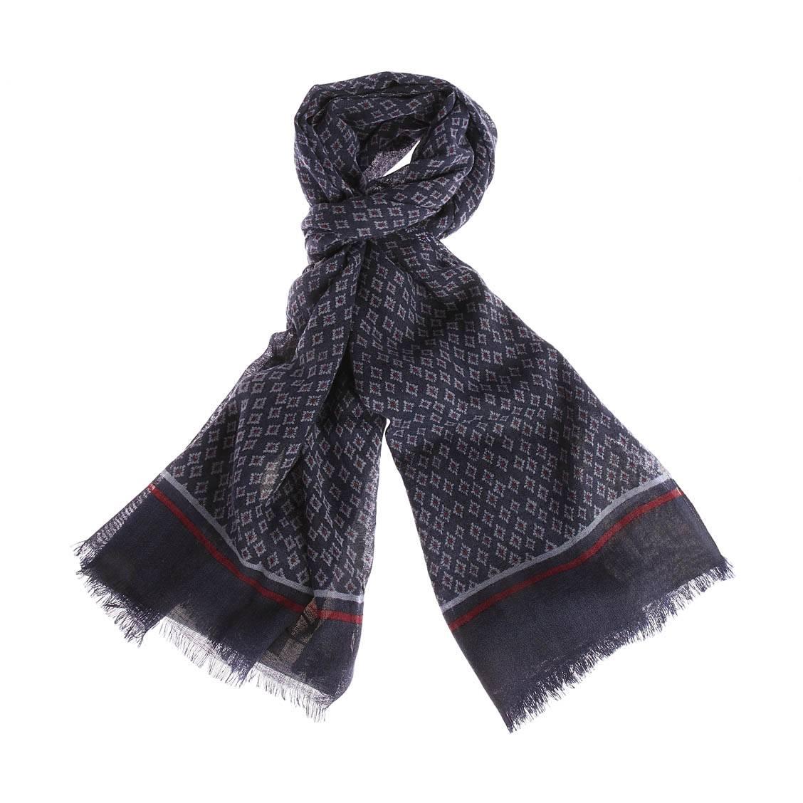 Echarpe  uno en laine bleu indigo à motifs géométriques bleu ciel et bordeaux