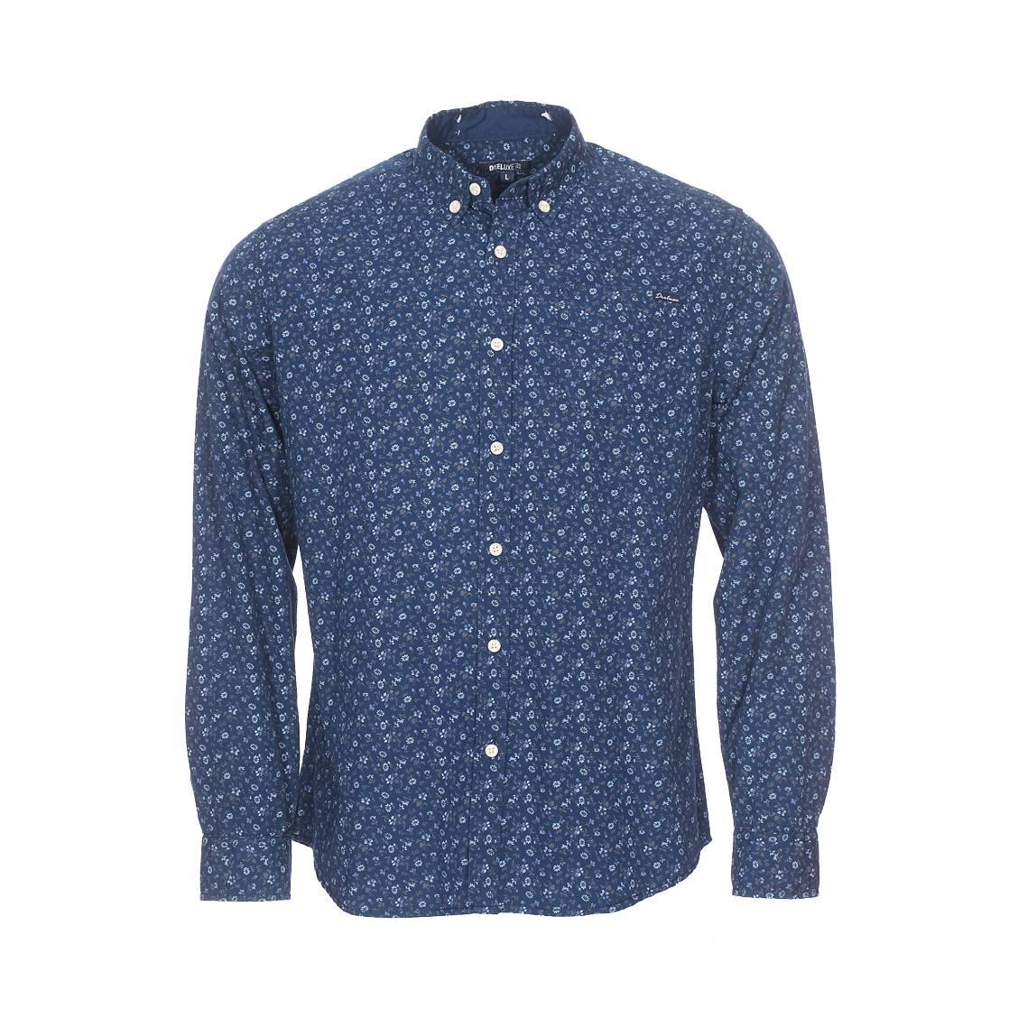 Chemise cintrée  poloma en coton bleu marine à motif floral imprimé