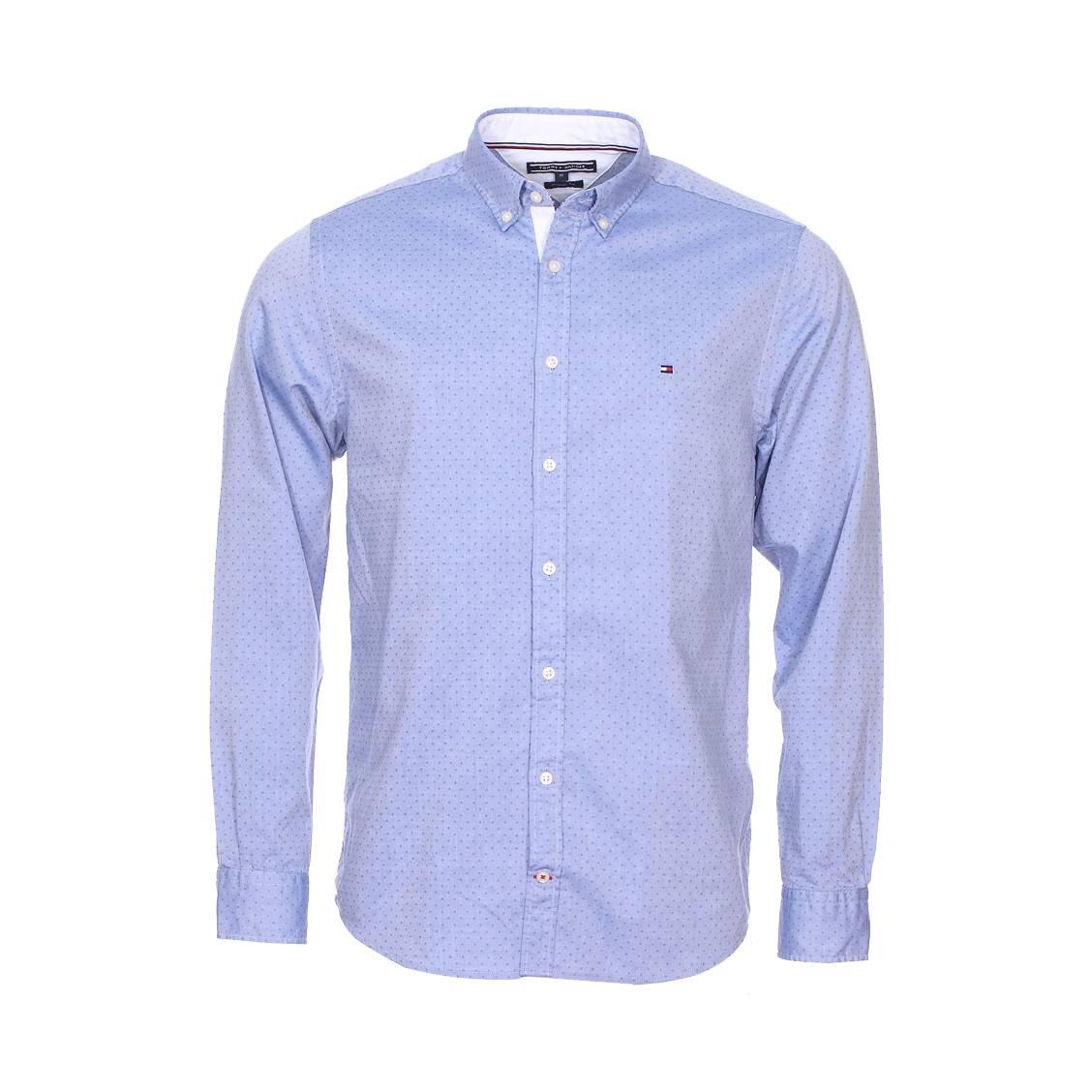 Chemise droite Tommy Hilfiger Printed Dobby en coton bleu chiné à pois bleus | Rue Des Hommes