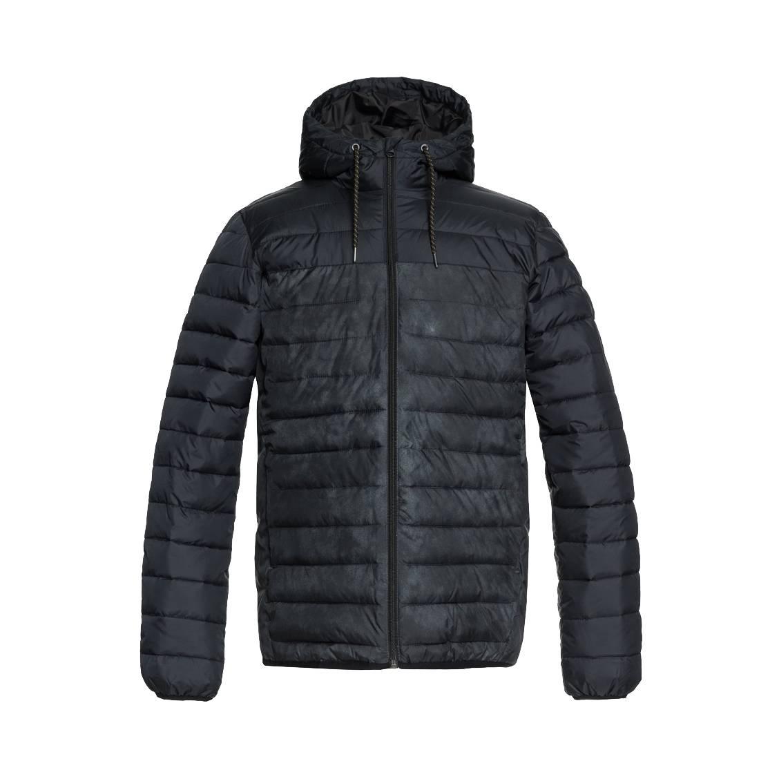Doudoune à capuche déperlante  scaly block à opposition de couleurs noire et gris anthracite