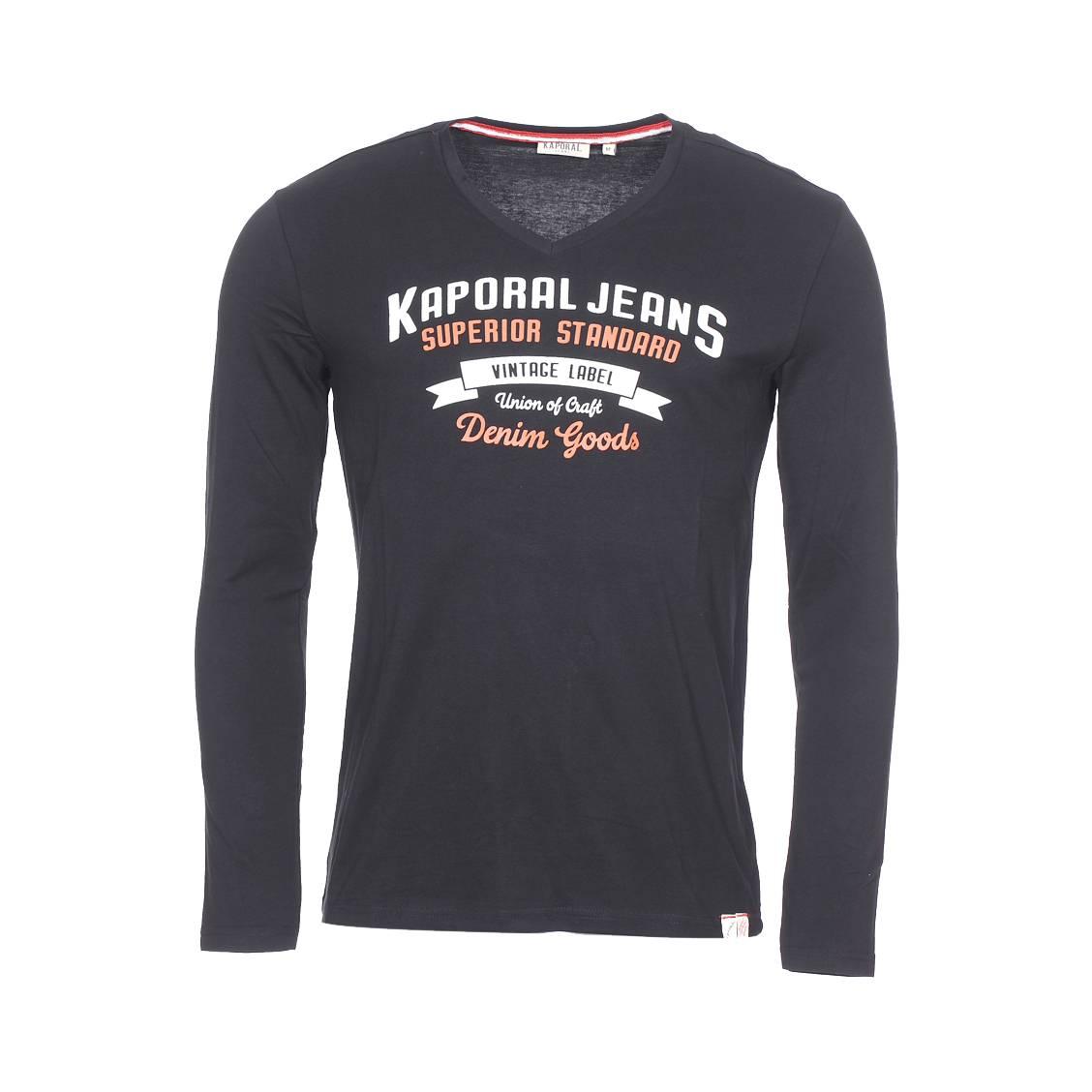 shirt coton en Tee longues noir V Kaporal Farto manches floqué col SdnUqwB